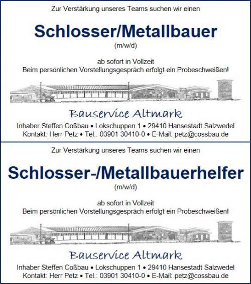 Stellenanzeige Schlosser Metallbauer