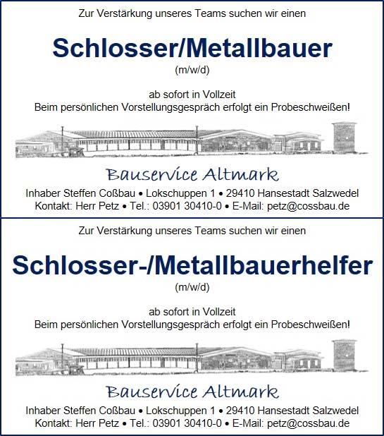 Jobangebot Bauservice Altmark Cossbau