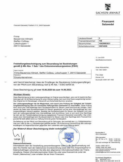 Finanzamt Salzwedel Freistellungsbescheinigung